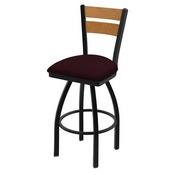 832 Thor Swivel Stool with Black Wrinkle Finish, Medium Back and Canter Bordeaux Seat