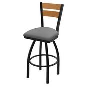 832 Thor Swivel Stool with Black Wrinkle Finish, Medium Back and Canter Folkstone Grey Seat