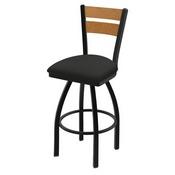 832 Thor Swivel Stool with Black Wrinkle Finish, Medium Back and Canter Iron Seat