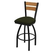 832 Thor Swivel Stool with Black Wrinkle Finish, Medium Back and Canter Pine Seat