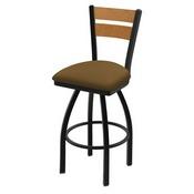 832 Thor Swivel Stool with Black Wrinkle Finish, Medium Back and Canter Saddle Seat