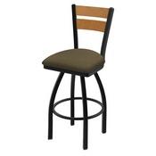 832 Thor Swivel Stool with Black Wrinkle Finish, Medium Back and Graph Cork Seat