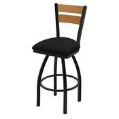 832 Thor Swivel Stool with Black Wrinkle Finish, Medium Back and Black Vinyl Seat