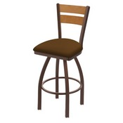 832 Thor Swivel Stool with Bronze Finish, Medium Back and Canter Thatch Seat