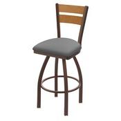 832 Thor Swivel Stool with Bronze Finish, Medium Back and Canter Folkstone Grey Seat