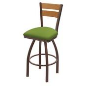 832 Thor Swivel Stool with Bronze Finish, Medium Back and Canter Kiwi Green Seat