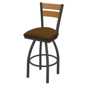832 Thor Swivel Stool with Pewter Finish, Medium Back and Canter Thatch Seat
