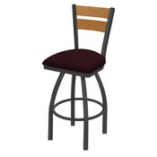 832 Thor Swivel Stool with Pewter Finish, Medium Back and Canter Bordeaux Seat