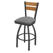 832 Thor Swivel Stool with Pewter Finish, Medium Back and Canter Folkstone Grey Seat