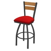 832 Thor Swivel Stool with Pewter Finish, Medium Back and Canter Red Seat