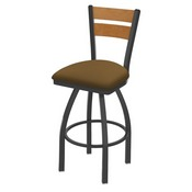 832 Thor Swivel Stool with Pewter Finish, Medium Back and Canter Saddle Seat
