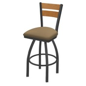 832 Thor Swivel Stool with Pewter Finish, Medium Back and Canter Sand Seat