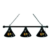 Chicago Blackhawks 3 Shade Billiard Light with Black Fixture by Holland Bar Stool