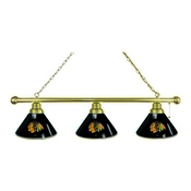 Chicago Blackhawks 3 Shade Billiard Light with Brass Fixture by Holland Bar Stool