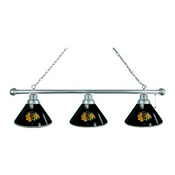 Chicago Blackhawks 3 Shade Billiard Light with Chrome Fixture by Holland Bar Stool