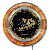 Anaheim Ducks Double Neon Ring, Logo Clock by Holland Bar Stool Company