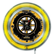 Boston Bruins Double Neon Ring, Logo Clock by Holland Bar Stool Company