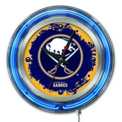 Buffalo Sabres Double Neon Ring, Logo Clock by Holland Bar Stool Company