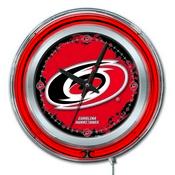 Carolina Hurricanes Double Neon Ring, Logo Clock by Holland Bar Stool Company