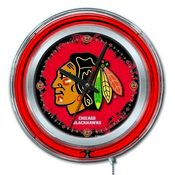 Chicago Blackhawks Double Neon Ring, Logo Clock by Holland Bar Stool Company