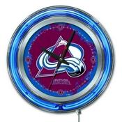 Colorado Avalanche Double Neon Ring, Logo Clock by Holland Bar Stool Company