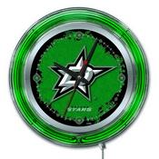 Dallas Stars Double Neon Ring, Logo Clock by Holland Bar Stool Company