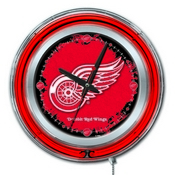 Detroit Red Wings Double Neon Ring, Logo Clock by Holland Bar Stool Company