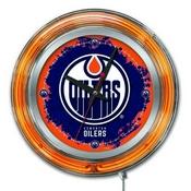 Edmonton Oilers Double Neon Ring, Logo Clock by Holland Bar Stool Company