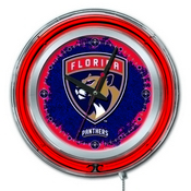 Florida Panthers Double Neon Ring, Logo Clock by Holland Bar Stool Company