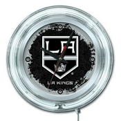 Los Angeles Kings Double Neon Ring, Logo Clock by Holland Bar Stool Company