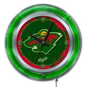 Minnesota Wild Double Neon Ring, Logo Clock by Holland Bar Stool Company