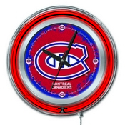 Montreal Canadiens Double Neon Ring, Logo Clock by Holland Bar Stool Company