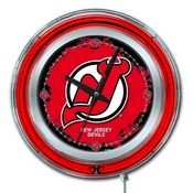 New Jersey Devils Double Neon Ring, Logo Clock by Holland Bar Stool Company