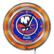 New York Islanders Double Neon Ring, Logo Clock by Holland Bar Stool Company