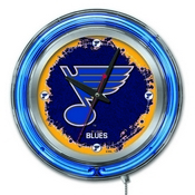 St Louis Blues Double Neon Ring, Logo Clock by Holland Bar Stool Company