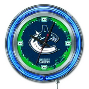 Vancouver Canucks Double Neon Ring, Logo Clock by Holland Bar Stool Company