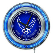 U.S. Air Force Double Neon Ring, Logo Clock by Holland Bar Stool Company