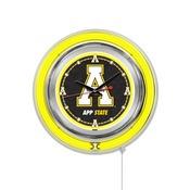 Appalachian State Double Neon Ring, Logo Clock by Holland Bar Stool Company