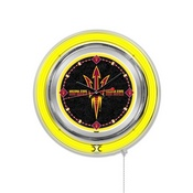 Arizona State Double Neon Ring, Logo Clock with Pitchfork Logo by Holland Bar Stool Company