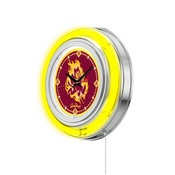 Arizona State Double Neon Ring, Logo Clock with Sparky Logo by Holland Bar Stool Company