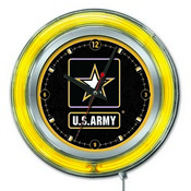 U.S. Army Double Neon Ring, Logo Clock by Holland Bar Stool Company