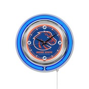 Boise State Double Neon Ring, Logo Clock by Holland Bar Stool Company