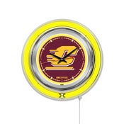 Central Michigan Double Neon Ring, Logo Clock by Holland Bar Stool Company