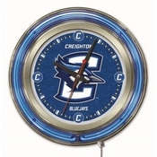 Creighton Double Neon Ring, Logo Clock by Holland Bar Stool Company