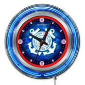 U.S. Coast Guard Double Neon Ring, Logo Clock by Holland Bar Stool Company