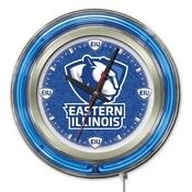Eastern Illinois Double Neon Ring, Logo Clock by Holland Bar Stool Company