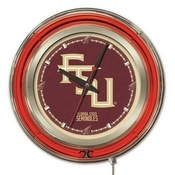 Florida State (Script) Double Neon Ring, Logo Clock by Holland Bar Stool Company