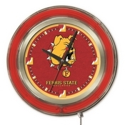 Ferris State Double Neon Ring, Logo Clock by Holland Bar Stool Company