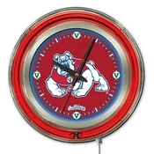 Fresno State Double Neon Ring, Logo Clock by Holland Bar Stool Company