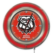 Georgia Bulldog Double Neon Ring, Logo Clock by Holland Bar Stool Company